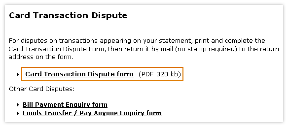 Card transcation dispute form